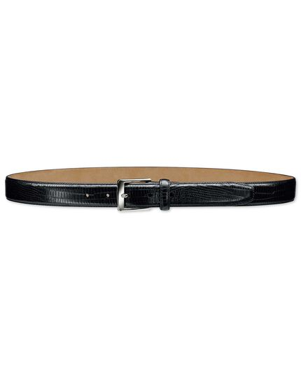 Black embossed croc belt