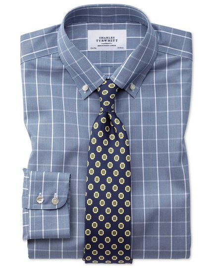 Classic fit button-down non-iron Prince of Wales navy blue and white shirt