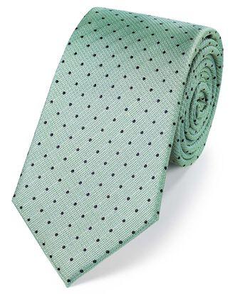 Cravate classique vert clair en soie texturée à pois
