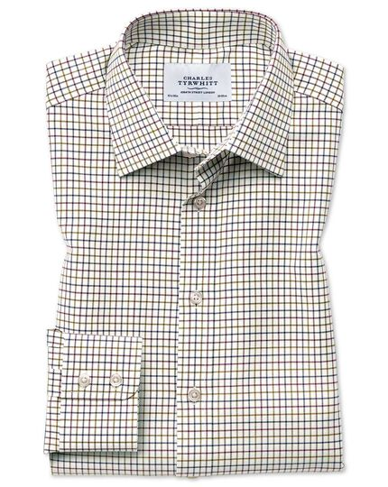 Slim fit country check purple and green shirt