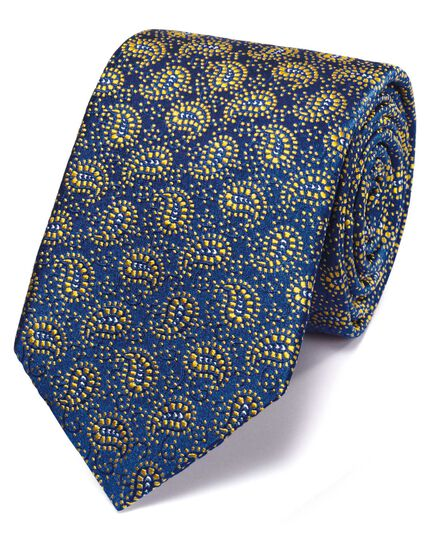 Navy and gold silk vintage paisley luxury tie