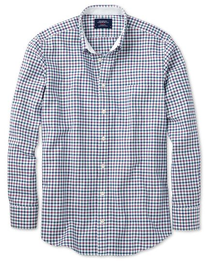 Slim fit navy and berry check washed Oxford shirt