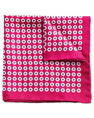 Bright pink and sky classic spot pocket square