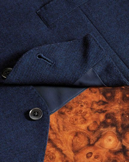 Royal blue adjustable fit flannel business suit waistcoat