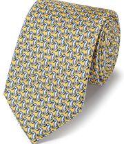 Light yellow silk seahorse print classic tie