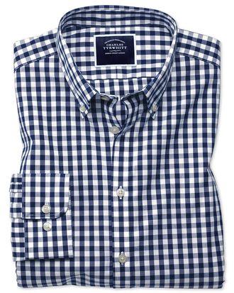 Extra slim fit button-down non-iron poplin navy blue gingham shirt