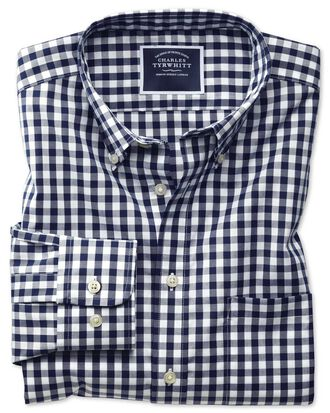 Classic fit button-down non-iron poplin navy blue gingham shirt
