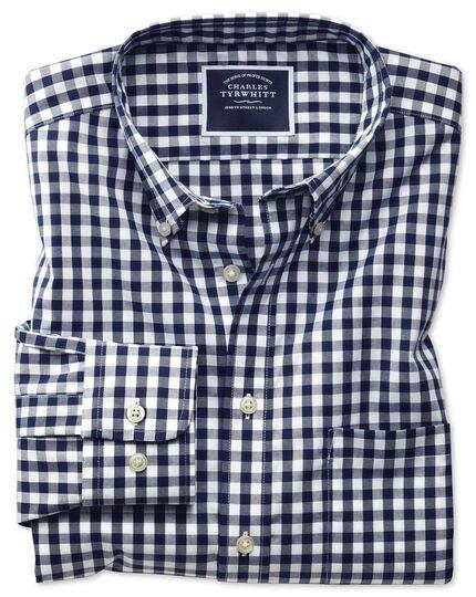 Classic fit button-down non-iron poplin navy blue gingham shirt