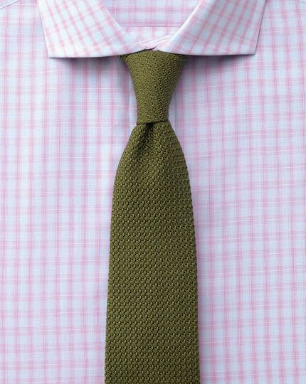 Extra slim fit cutaway collar Egyptian cotton compact check pink shirt