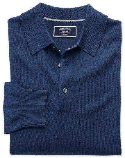 Mid blue merino wool polo neck jumper