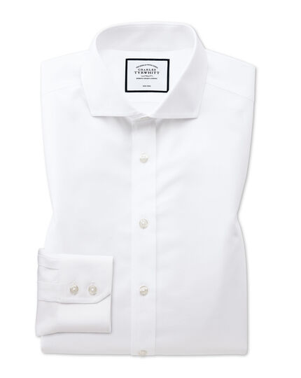 Slim fit spread collar non-iron twill white shirt