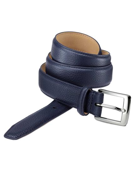Navy tumbled leather formal belt