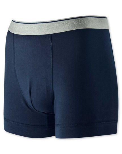 Navy cotton stretch jersey trunks