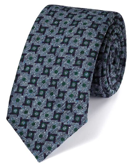 Indigo silk mix printed Donegal luxury tie