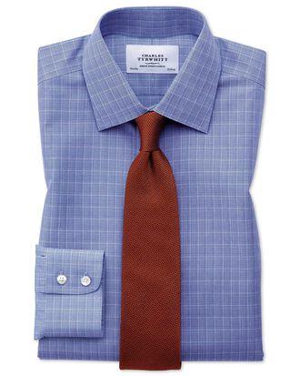 Bügelfreies Classic Fit Hemd in Blau mit Prince-of-Wales-Karos