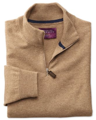 Tan cashmere zip neck jumper