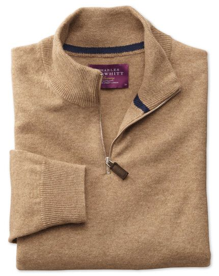 Tan cashmere zip neck sweater