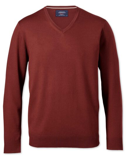Copper merino v-neck jumper