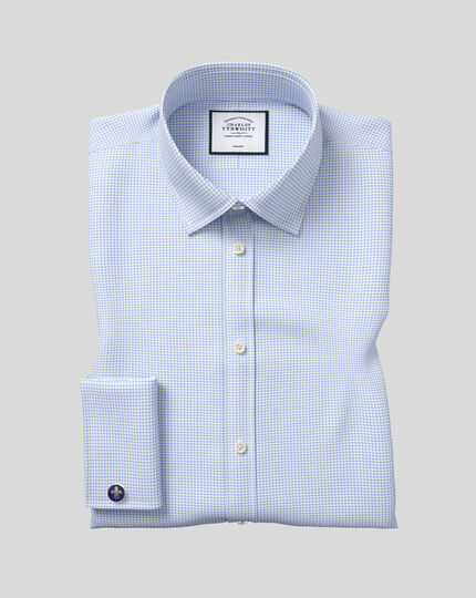 Extra slim fit non-iron twill mini grid check sky blue shirt