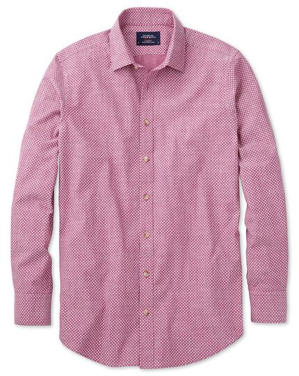 Classic fit berry red and white spot print shirt