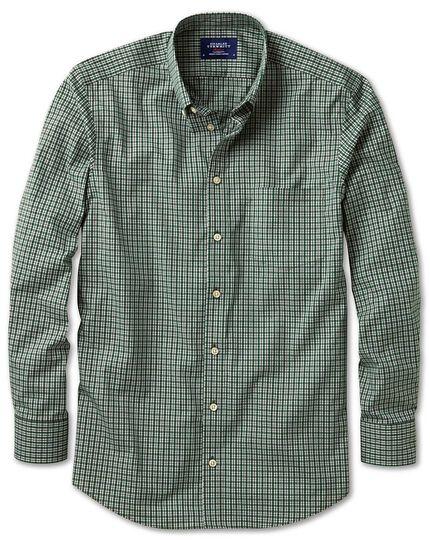 Bügelfreies Extra Slim Fit Hemd aus Popeline in Grün und Blau mit Karos