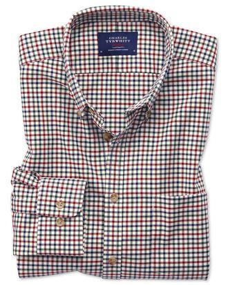 Bügelfreies Slim Fit Twill-Hemd mit Bunten Gingham-Karos