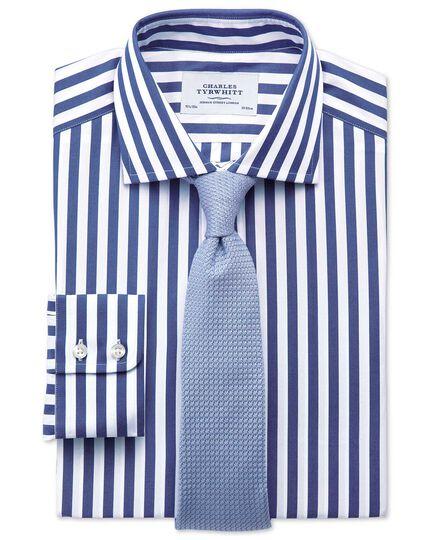 Classic fit semi-cutaway collar Egyptian cotton stripe navy shirt