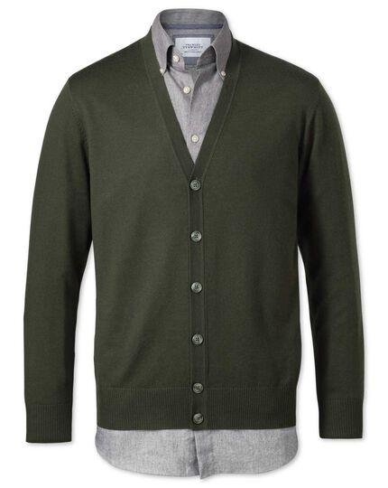 Dark green merino wool cardigan