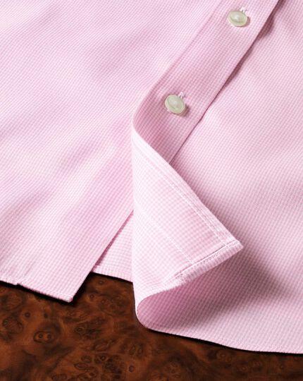 Chemise rose clair en pied-de-poule sans repassage slim fit