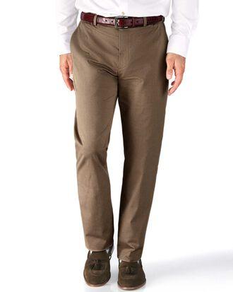 Tan slim fit stretch cavalry twill pants