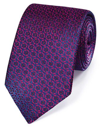 Berry silk mosaic English luxury tie