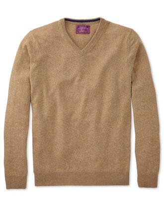 Tan cashmere v-neck jumper