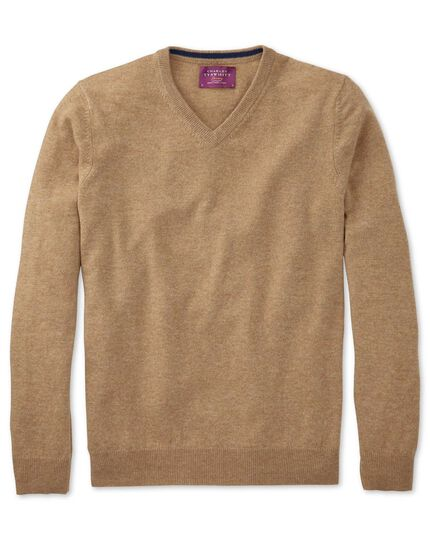 Tan cashmere v-neck sweater