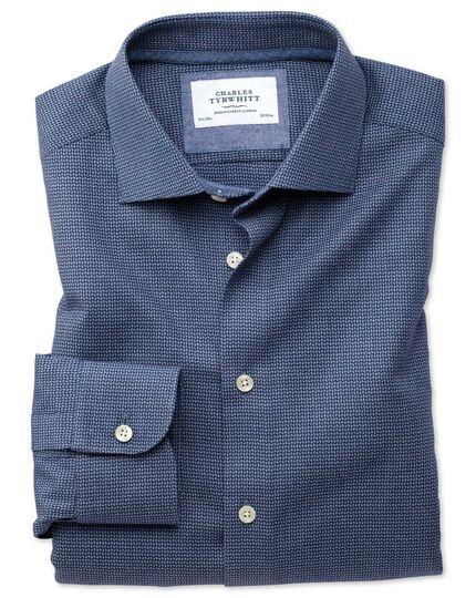 Chemise business casual bleu marine à motif coupe droite