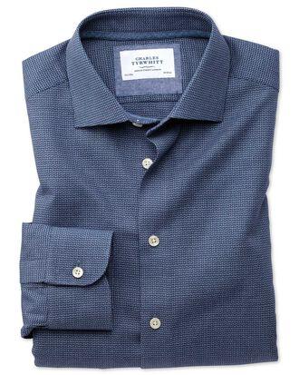 Chemise business casual bleu marine slim fit avec motif