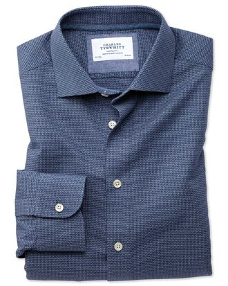 Extra Slim Fit Business-Casual Hemd in Marineblau mit Muster