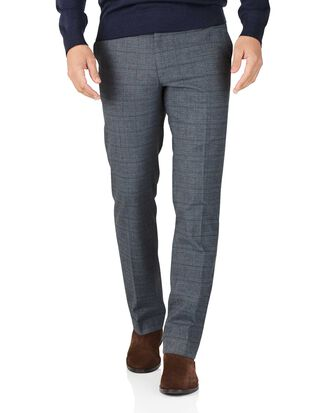 Blue slim fit cotton flannel check trousers