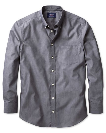 Extra slim fit non-iron poplin indigo stripe shirt