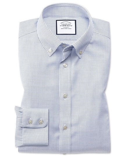 Classic fit button-down non-iron twill mini grid check navy shirt
