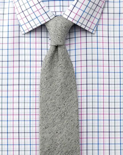 Classic fit non-iron multi check blue and pink shirt