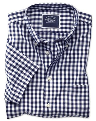 Slim fit button-down non-iron poplin short sleeve navy blue gingham shirt