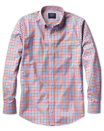 Slim fit button-down non-iron twill red and sky blue gingham shirt