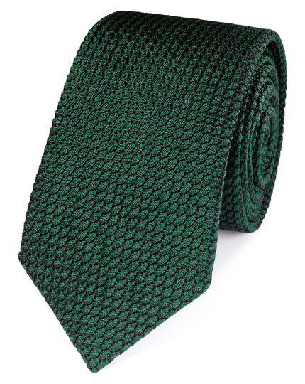 Forest green silk plain grenadine luxury tie