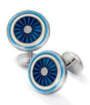 Blue enamel circle cuff links