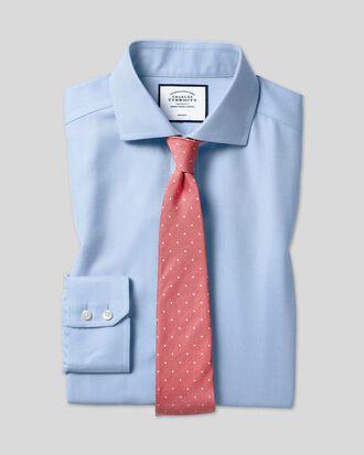Slim fit spread collar non-iron herringbone sky blue shirt