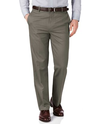 Olive green slim fit flat front non-iron chinos