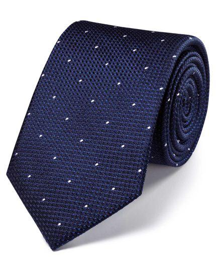 Navy silk classic textured dash tie