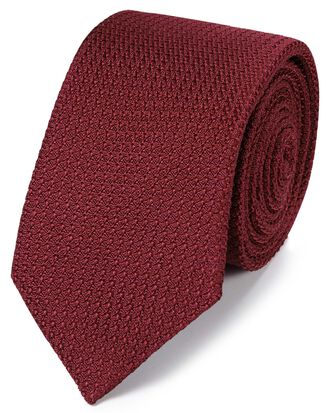 Dark red silk grenadine Italian luxury tie