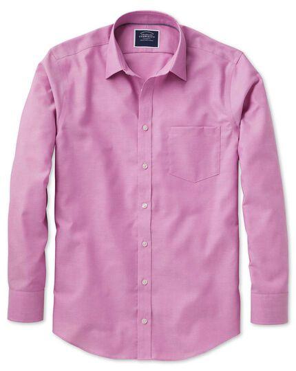 Slim fit non-iron Oxford dark pink plain shirt