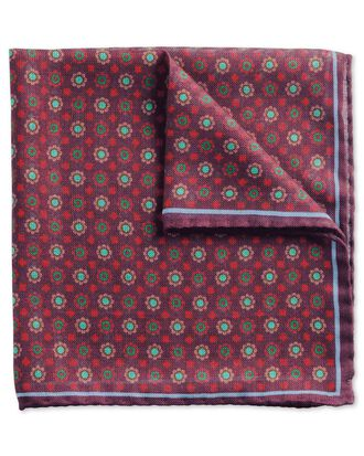 Burgundy and green luxury Italian wool silk pocket square